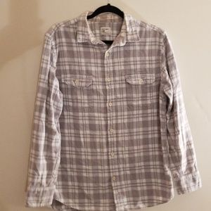 Old navy men's gray and white button down shirt